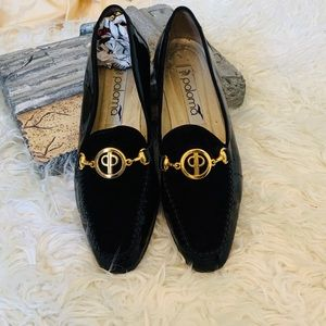 Paloma Black Patent Leather and Suede Loafers